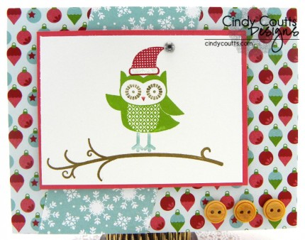 Santa Owl Card PCCC4 Cindy Coutts